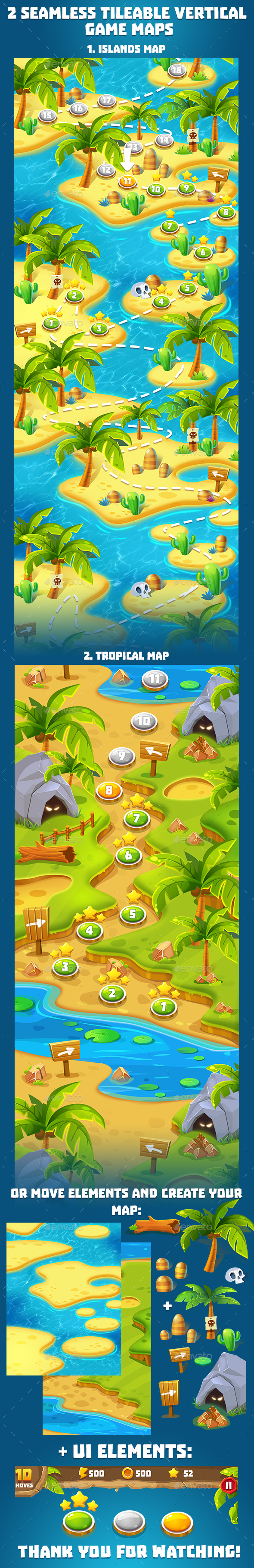 2 Tropical Seamless Game Maps - Miscellaneous Game Assets