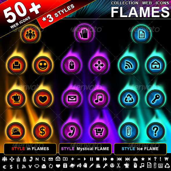 "Collection of 50 web icons ""Flames"" (3 styles) - Web Icons"