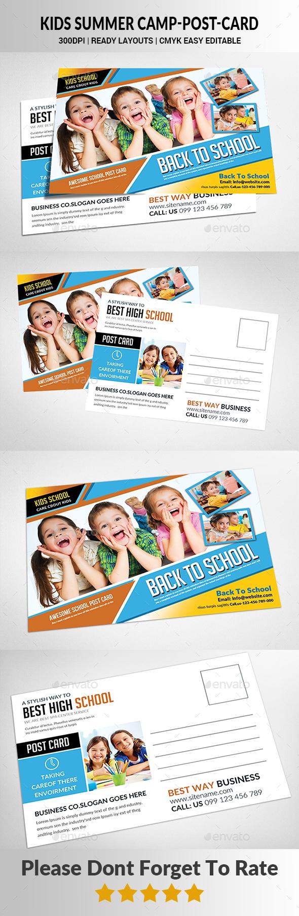 Kids Summer Camp Postcard - Cards & Invites Print Templates