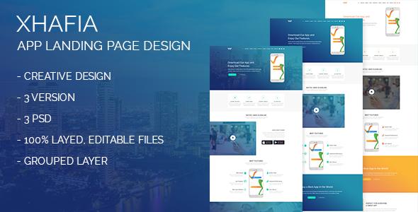 Xhafia app landing page design - Technology PSD Templates