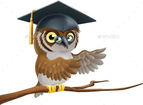 Owl Graduate or Teacher - Animals Characters