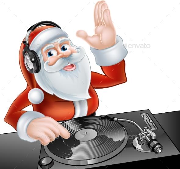 Cartoon DJ Santa - Christmas Seasons/Holidays
