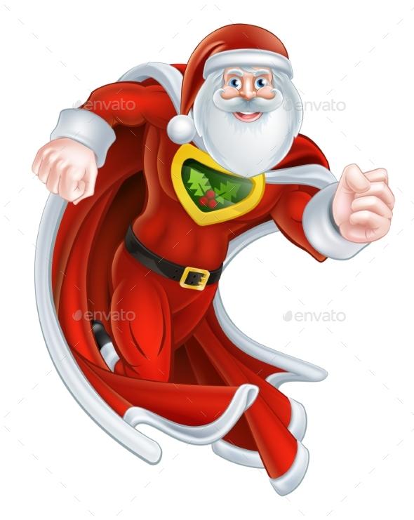 Cartoon Santa Claus Superhero - Christmas Seasons/Holidays