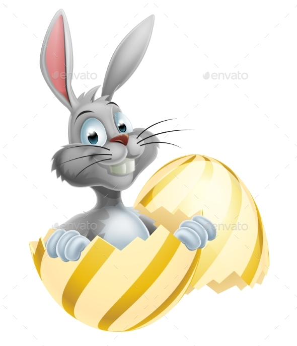 White Easter Bunny in Egg - Miscellaneous Seasons/Holidays