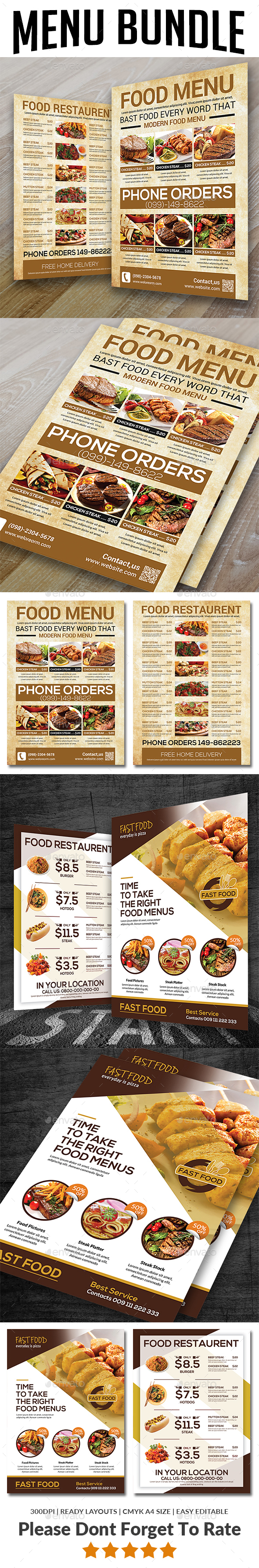 Restaurant Menu Bundle Templates - Food Menus Print Templates
