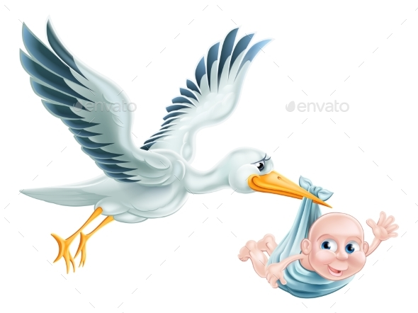 Stork and Baby Flying Cartoon - Animals Characters