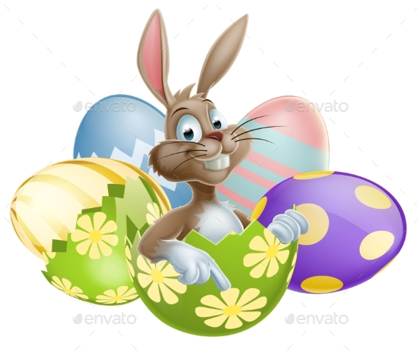 Bunny with Easter Eggs - Miscellaneous Seasons/Holidays