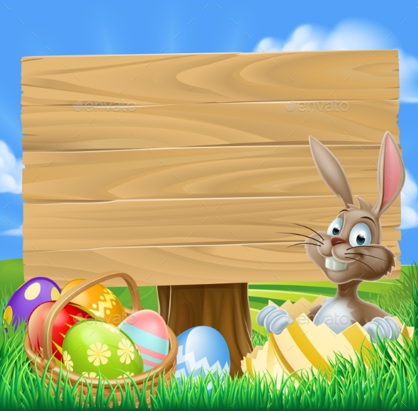 Easter Bunny Egg Hunt Sign - Animals Characters