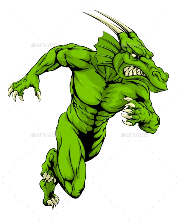 Dragon Mascot Running - Animals Characters