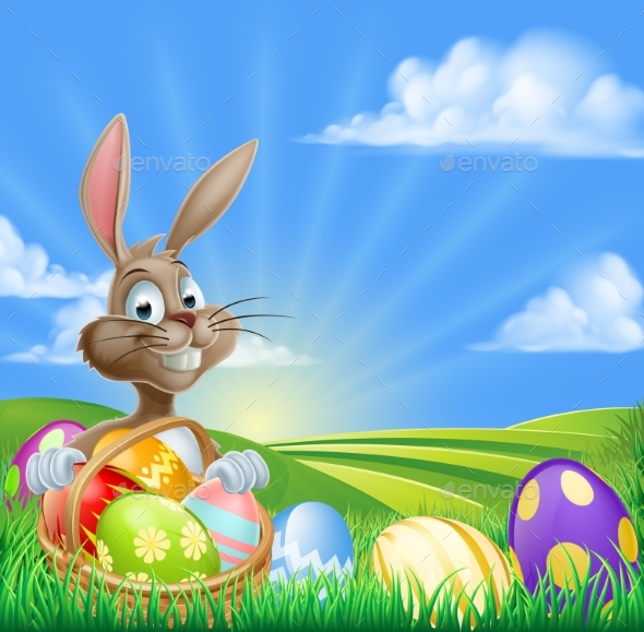 Cartoon Easter Bunny Scene - Animals Characters
