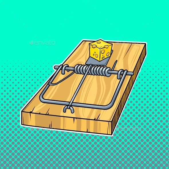 Mousetrap Comic Book Style Vector Illustration - Man-made Objects Objects