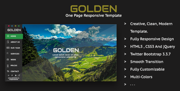 Golden - One Page Responsive Template - Creative Site Templates