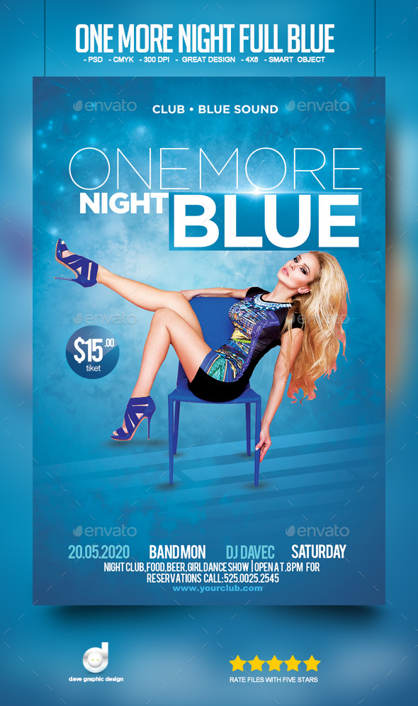 Flyer One More Night Full Blue - Clubs & Parties Events