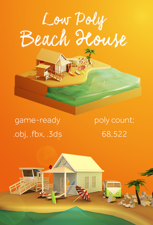 Low Poly Beach House - 3DOcean Item for Sale