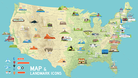 Usa Vector Map And Us Landmark Icons By Demg Graphicriver