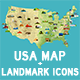 USA Vector Map and US Landmark Icons - GraphicRiver Item for Sale