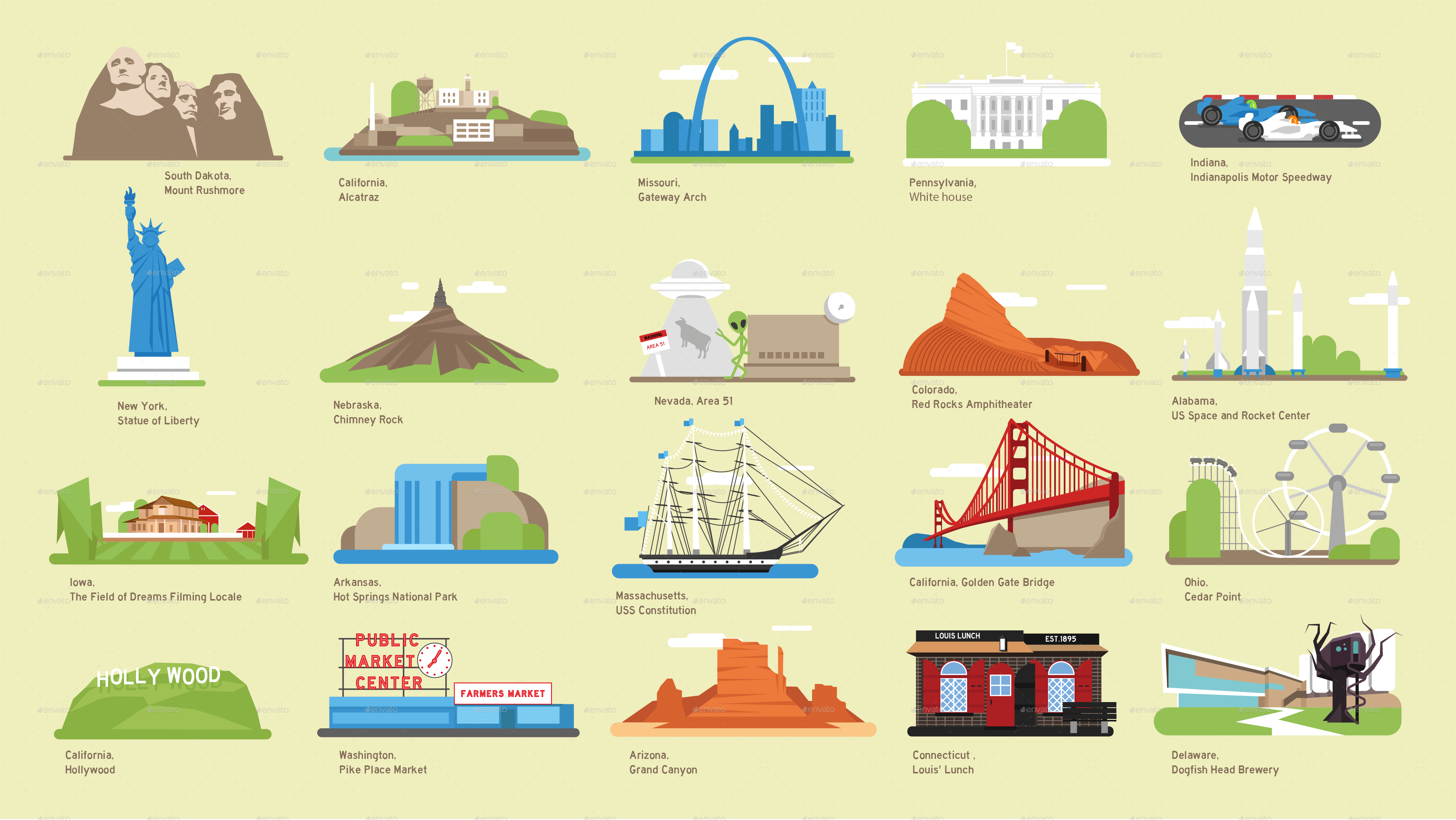 USA Vector Map And US Landmark Icons By DEMG GraphicRiver - Us map red png