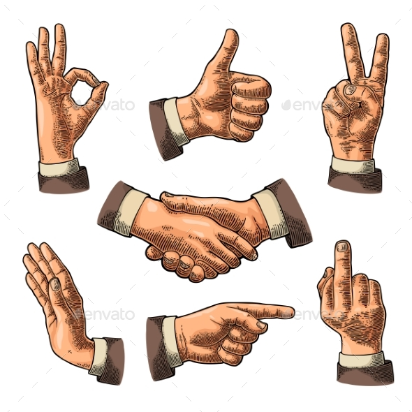 Male Hand Signs - Miscellaneous Vectors