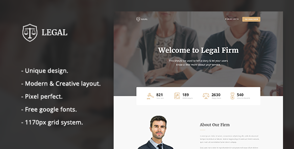 Legal - Law Firm Landing Page Template