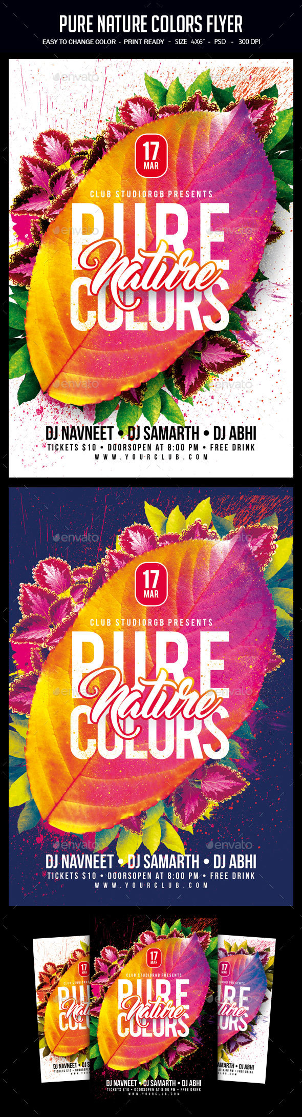 Pure Nature Colors Flyer - Clubs & Parties Events