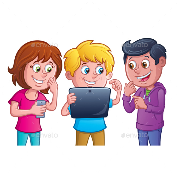 Kids Using Electronic Tablet - Computers Technology