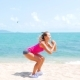 Fitness Sport Woman Doing Sporty Exercise on Beach Outside at Sunset - VideoHive Item for Sale