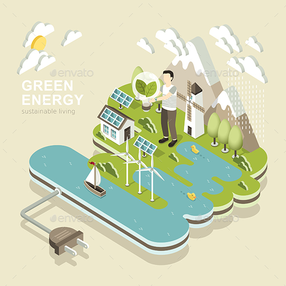 Green Energy Concept - 3d Isometric Flat Design - Landscapes Nature