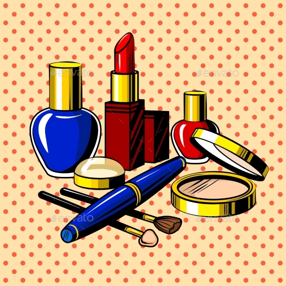 Beauty Accessories Comic Book Style Vector - Man-made Objects Objects