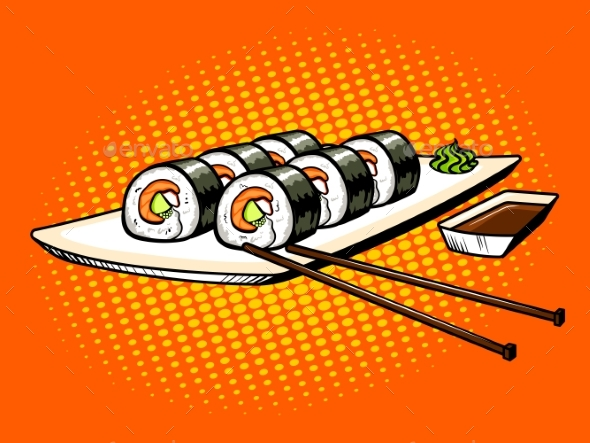 Japanese Food Rolls Pop Art Vector Illustration - Food Objects