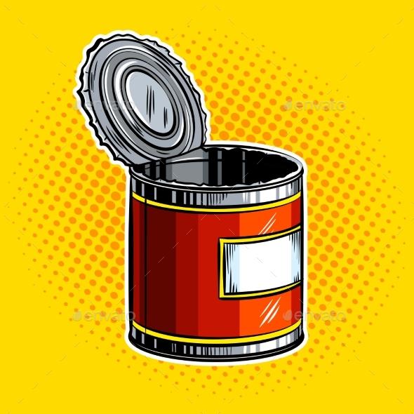 Open Tincan Pop Art Vector Illustration - Food Objects