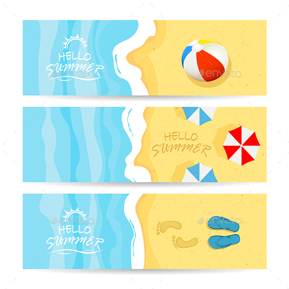 Three Summer Cards with Sea and Sandy Beach - Travel Conceptual