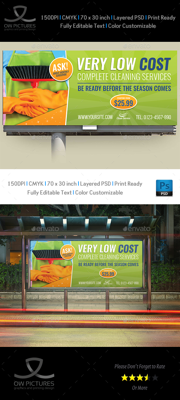 Cleaning Services Billboard Template Vol.3 - Signage Print Templates