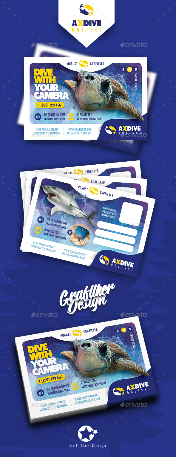 Ocean Diving Postcard Templates - Cards & Invites Print Templates