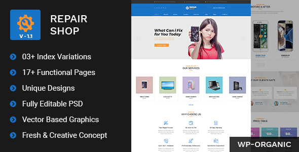Repair Shop - Mobile & Gadget Repairing PSD Template - Business Corporate