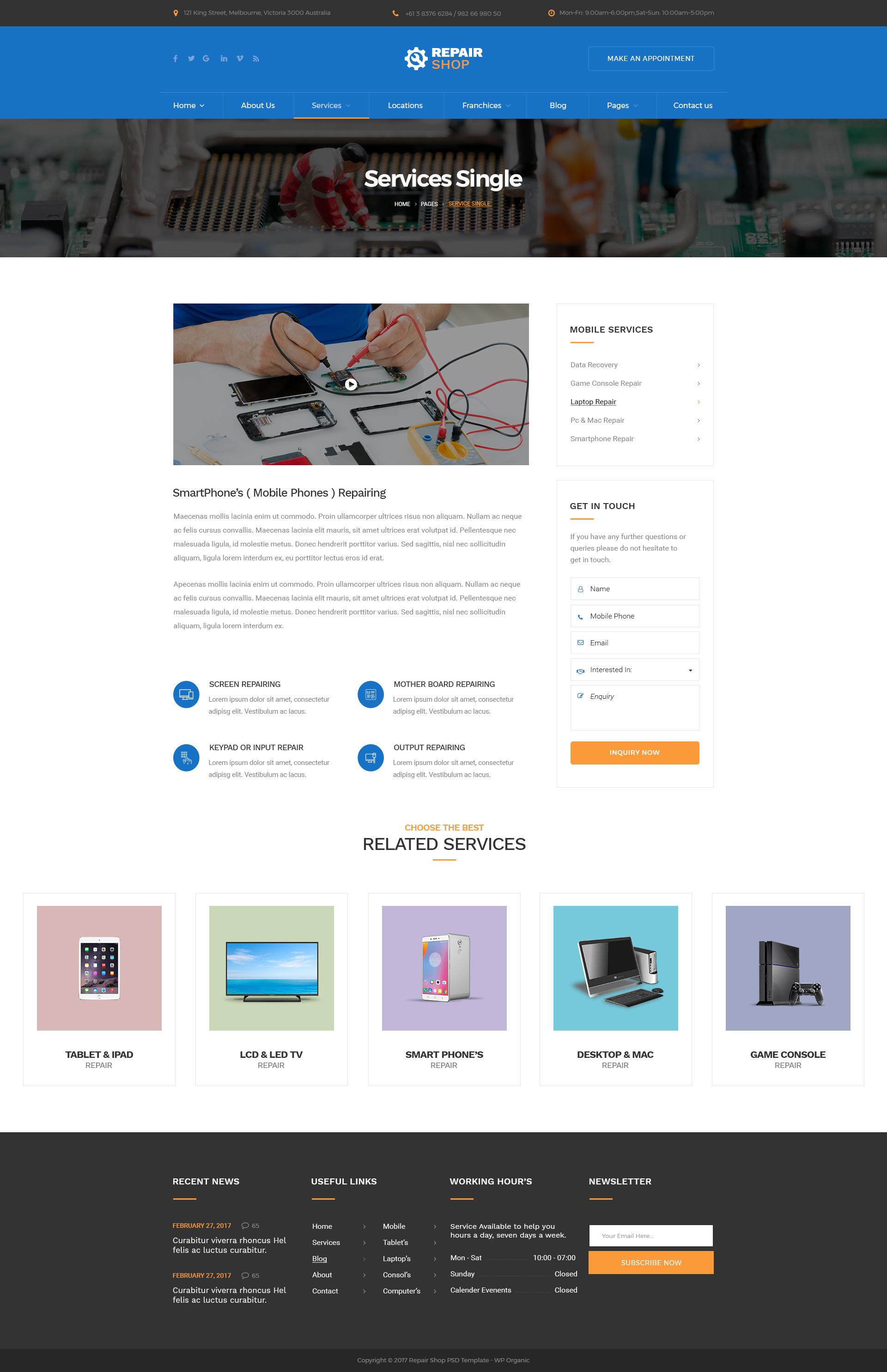 Repair Shop - Mobile & Gadget Repairing PSD Template