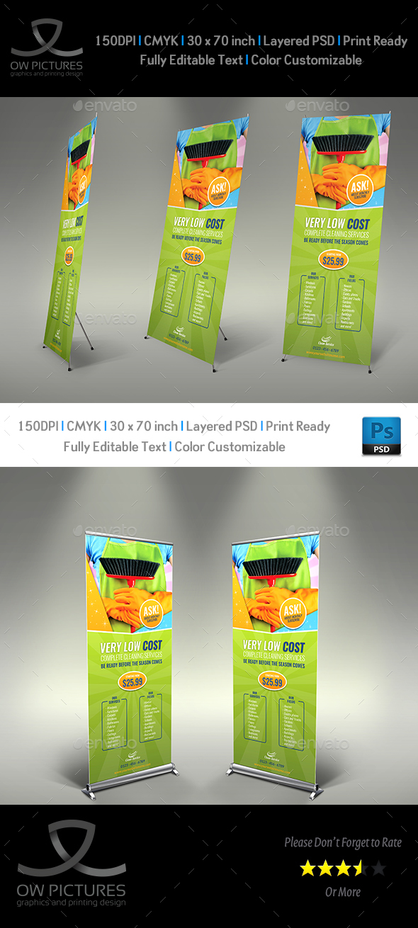 Cleaning Services Signage Roll Up Banner Template Vol.3 - Signage Print Templates