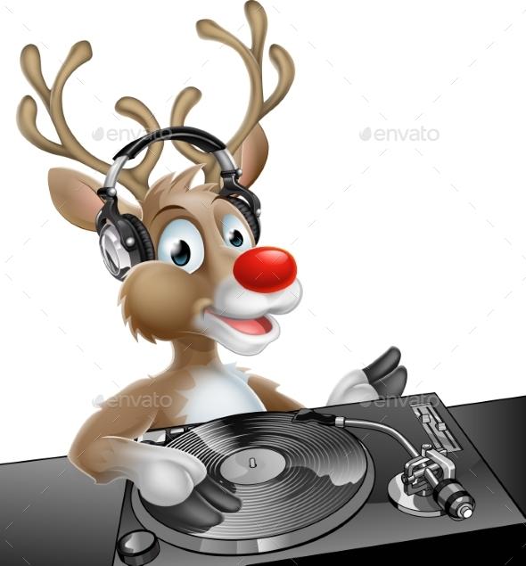 DJ Christmas Reindeer - Animals Characters