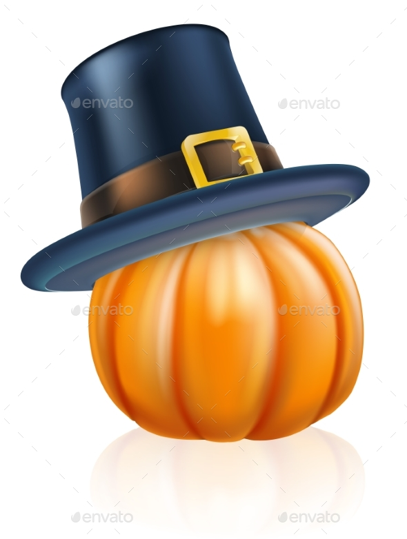 Thanksgiving Pilgrim Hat Pumpkin - Miscellaneous Seasons/Holidays