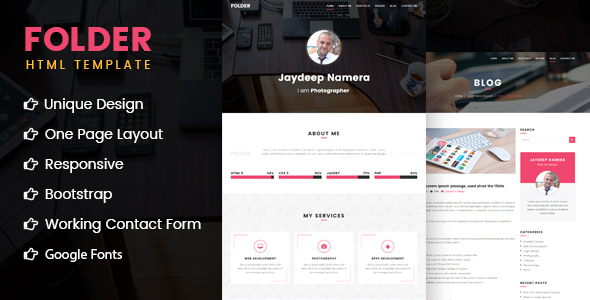 Folder – Freelancer One Page Portfolio & Resume HTML5 Template
