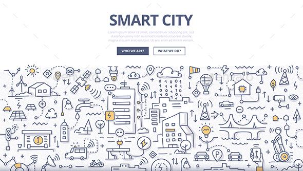 Smart City Doodle Concept - Backgrounds Decorative