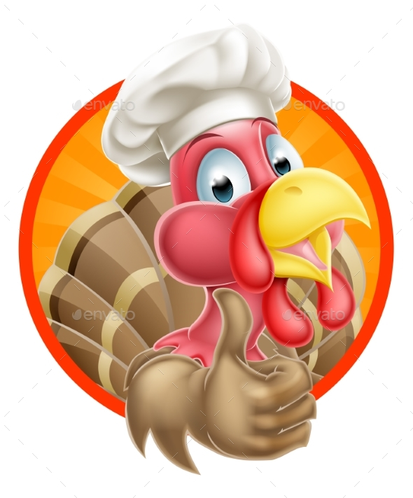 Cartoon Chef Hat Turkey - Animals Characters