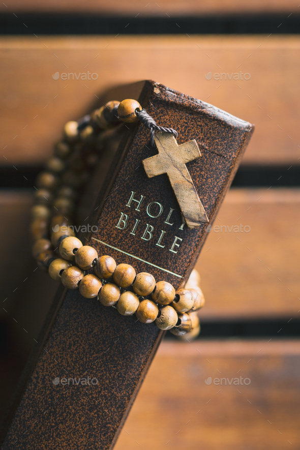 Rosary beads and holy bible. - Stock Photo - Images