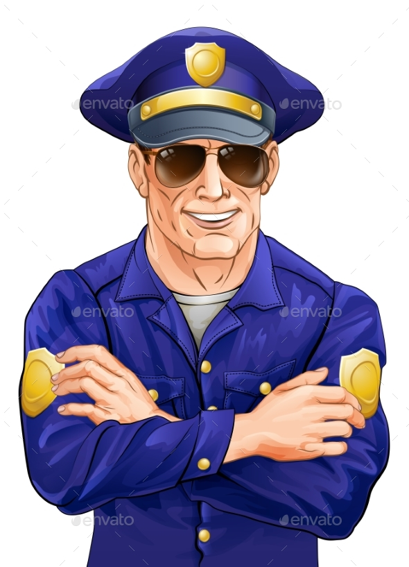 Happy Policeman with Sunglasses - People Characters
