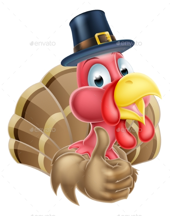 Cartoon Turkey in Pilgrim Hat - Animals Characters