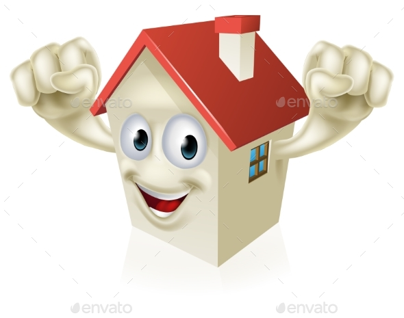 Happy Cartoon House Mascot - Miscellaneous Vectors