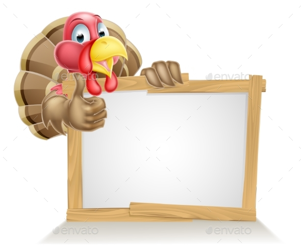 Cartoon Turkey Sign - Miscellaneous Seasons/Holidays