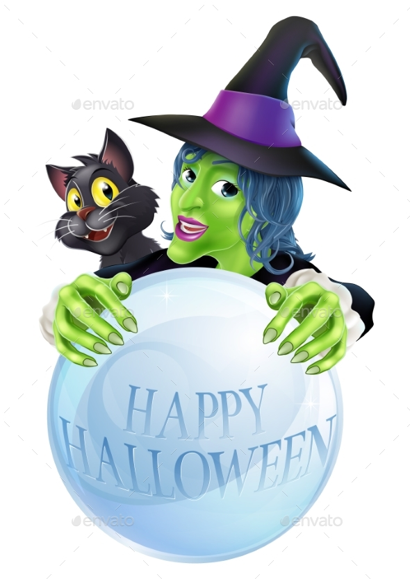 Halloween Witch Cat and Crystal Ball - Halloween Seasons/Holidays