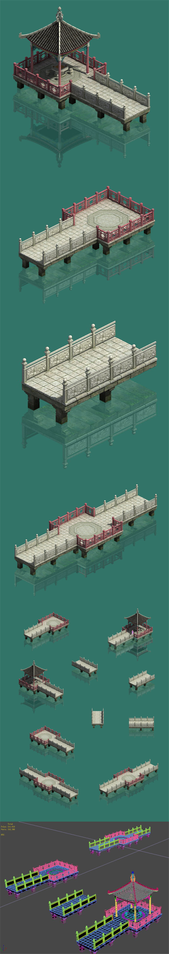 Large City - Water Corridor Stone Bridge - 3DOcean Item for Sale