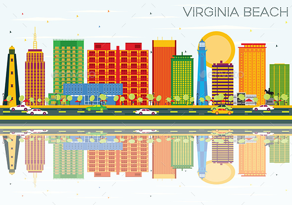Virginia Beach Skyline with Color Buildings, Blue Sky and Reflections - Buildings Objects