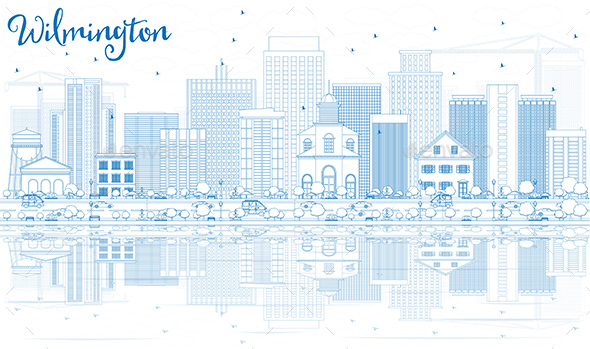Outline Wilmington Skyline with Blue Buildings and Reflections - Buildings Objects